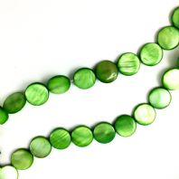 16 Inch Green Shell 14mm Coin Beads